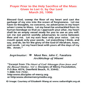 Prayer prior to the holy sacrifice of the mass disciples of mercy prayer before mass back text thecheapjerseys Gallery